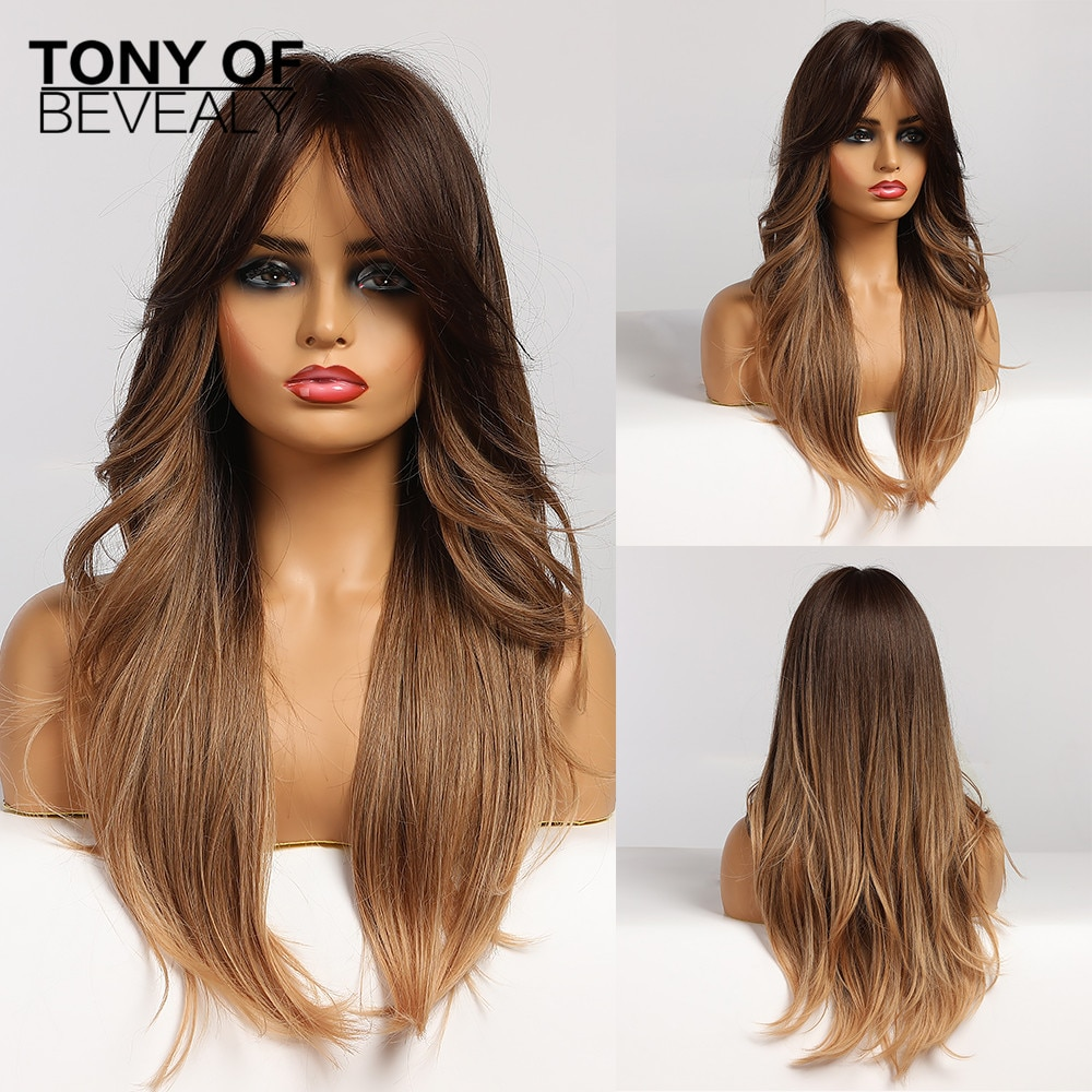 Long Wavy Ombre Brown Synthetic Wigs Natural Wave Hair Wigs for African American Women Heat Resistant Daily Cosplay Wigs