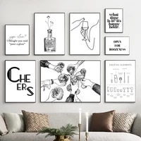 black white cocktail whisky wine wall art canvas painting nordic posters and prints minimalist pictures for bar club home decor