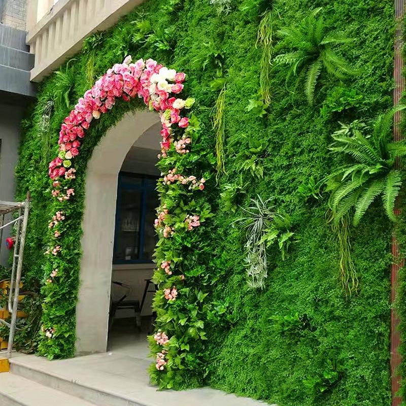 Césped Planta Artificial hierba verde plantación Flor de decoración de pared plástico de pared arreglo de flores artificiales accesorios Rama