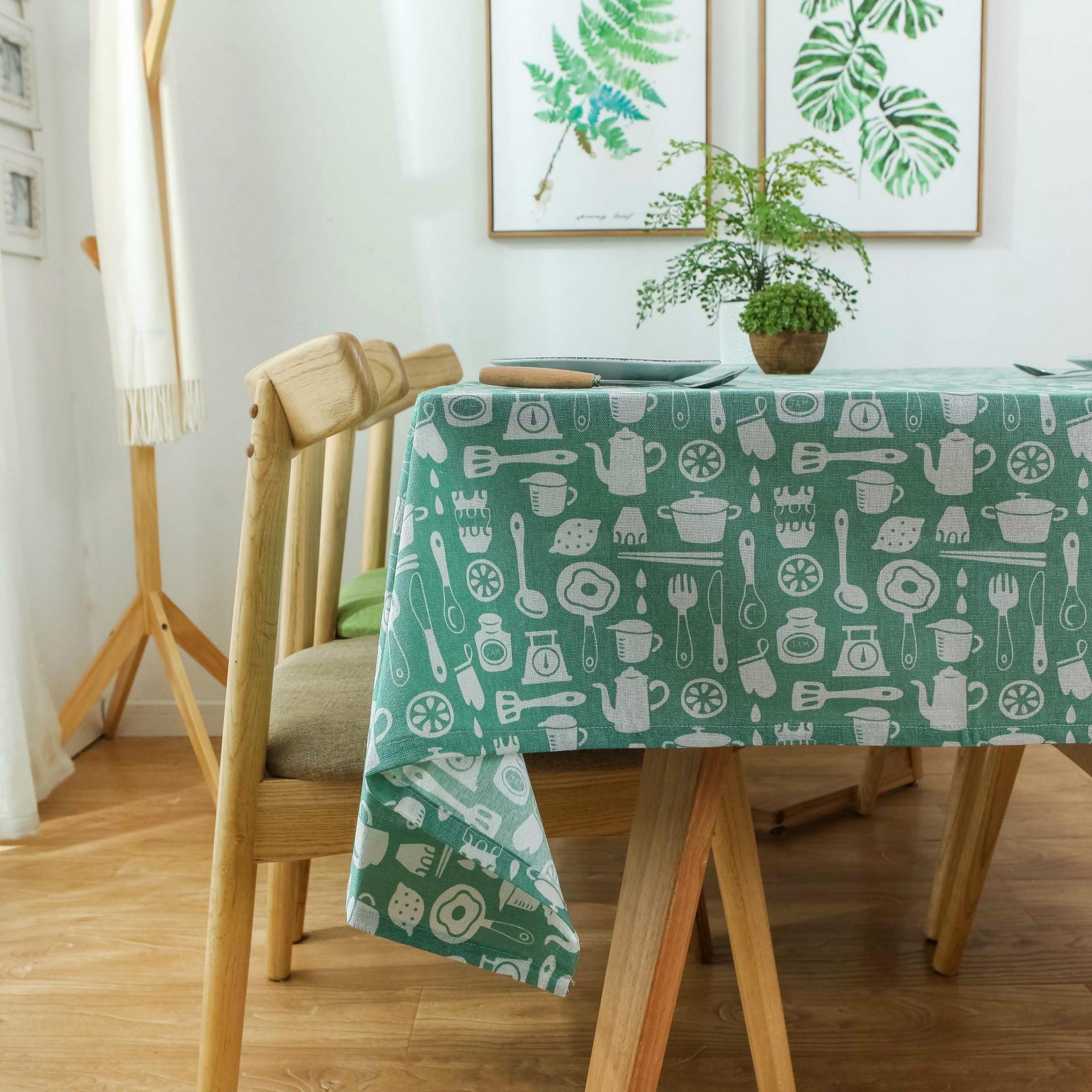 Mantel de lino de algodón para mesa, cubierta rectangular para mesa, cocina,...