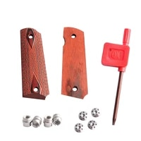 magorui 1911 checkered red diamond wood grips with allen screws ss grip screws bushings