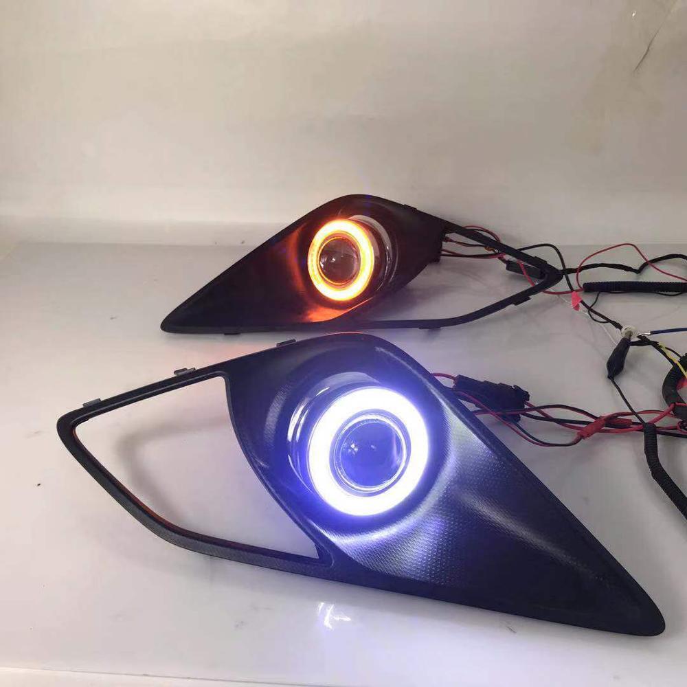 RQXR fog lamp driving light assembly for toyota 86 cob angel eye led daytime running lights turn signal
