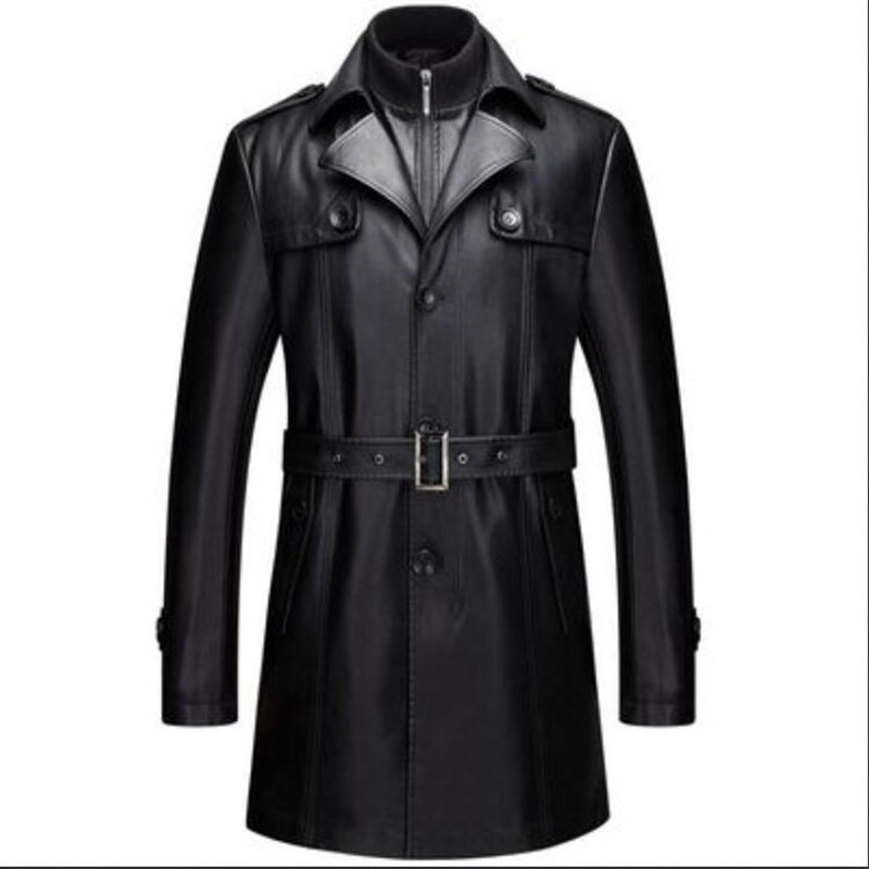 سترة جلدية الرجال سترة عادية بولي Clothing ملابس رجالية طويلة سترات من الجلد معاطف عالية الجودة زائد المخملية فو الجلود معطف 5XL