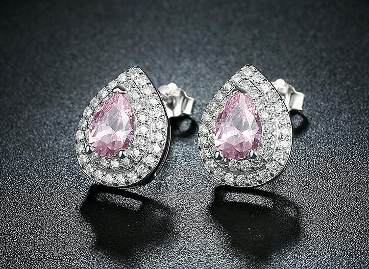UXN30 oreja de plata pura uña S925 gota de agua de plata oreja de color de uñas de lujo pendientes de mujer