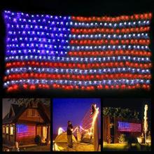 2 متر x 1 متر 30 فولت العلم الأمريكي مصابيح LED شبكية عيد الميلاد تزيين الحديقة في الهواء الطلق إضاءة مقاومة للماء سلسلة ضوء عطلة الجنية أضواء الولايات المتحدة التوصيل