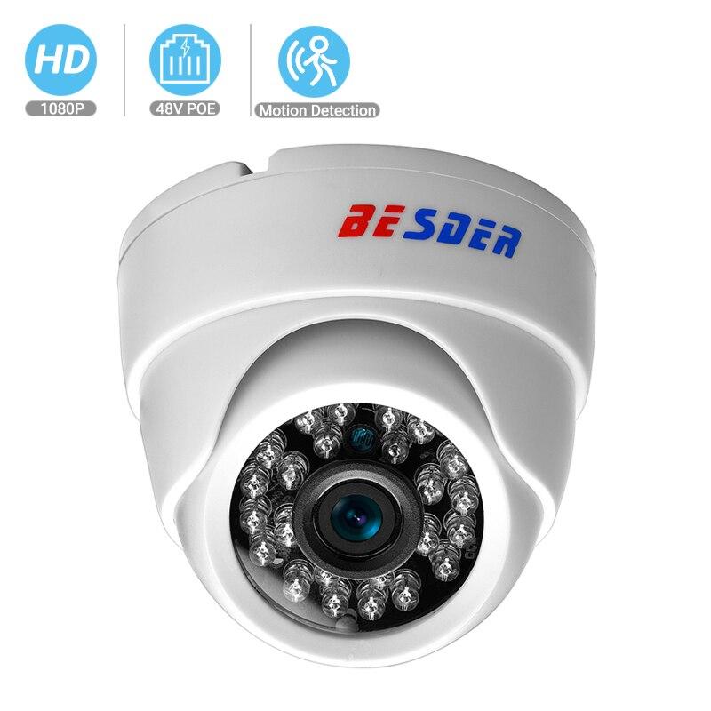BESDER ONVIF, cámara IP ancha de 2,8mm, 1080P, 960P, 720P, P2P, RTSP, detección de movimiento, alerta de correo electrónico, XMEye, DC12V, POE48V, cámara CCTV para interiores