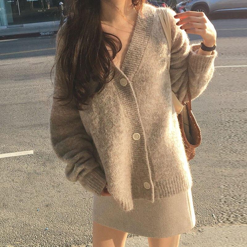 Шикарные Женские мягкие свободные свитера кардиганы однобортная женская блузка с v-образным вырезом, свободная, кардиганы осень-зима теплы...