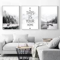 Paysage affiches Art maison toile peintures citations imprime montagne affiche lac imprimer cerf mur photos pour salon decor