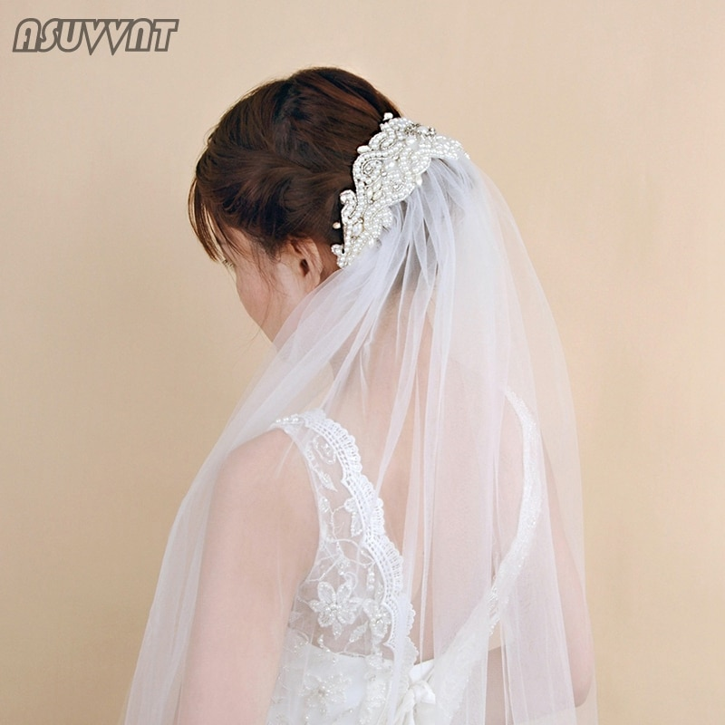 Elegante Casamento Véus de Noiva Acessórios Véu de Noiva Strass Pérolas Frisado Véu Para As Mulheres de Noivado de Luxo Vestido de Noiva Up