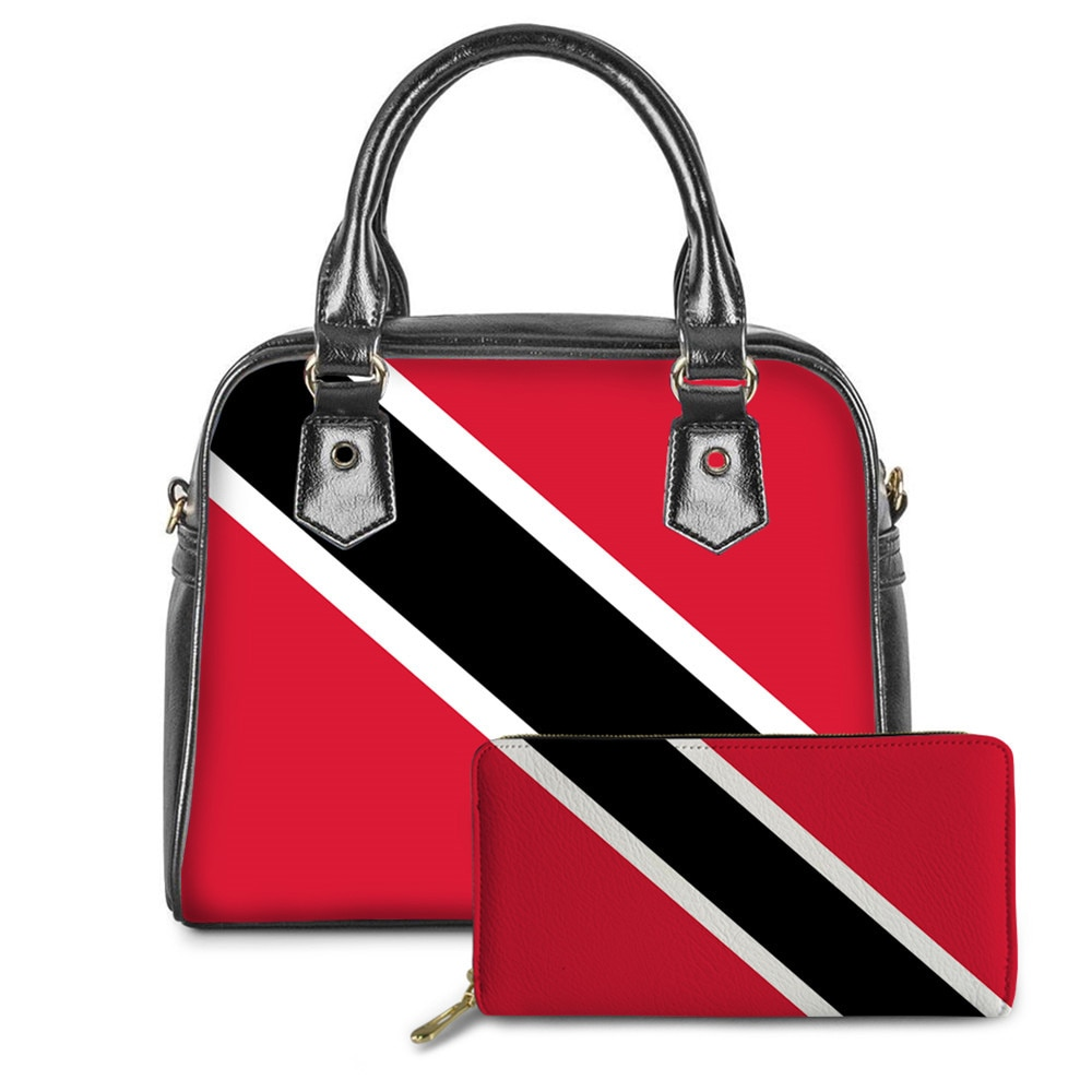 WHEREISART Caribbean Trinidad and Tobago Flag Pattern Women Handbags 2pc/Set Red Pu Leather Ladies Crossbody Bag Drop Shipping