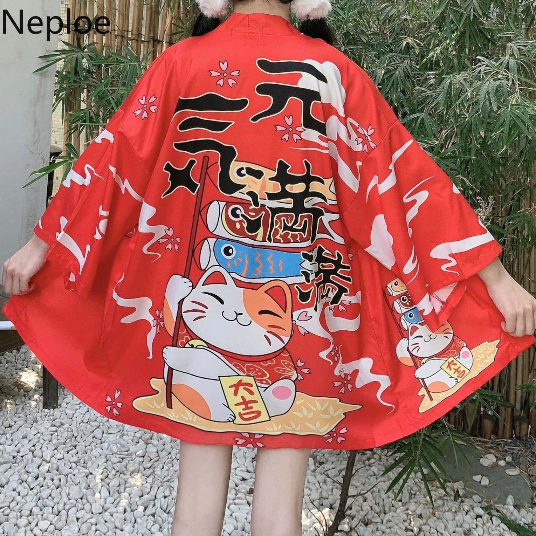 Neploe Japanese Kimono Cardigan Vintage Cartoon Lucky Cat Printed Blouse Coat 2020 Spring Summer Suncreen Thin Kimonos 59170