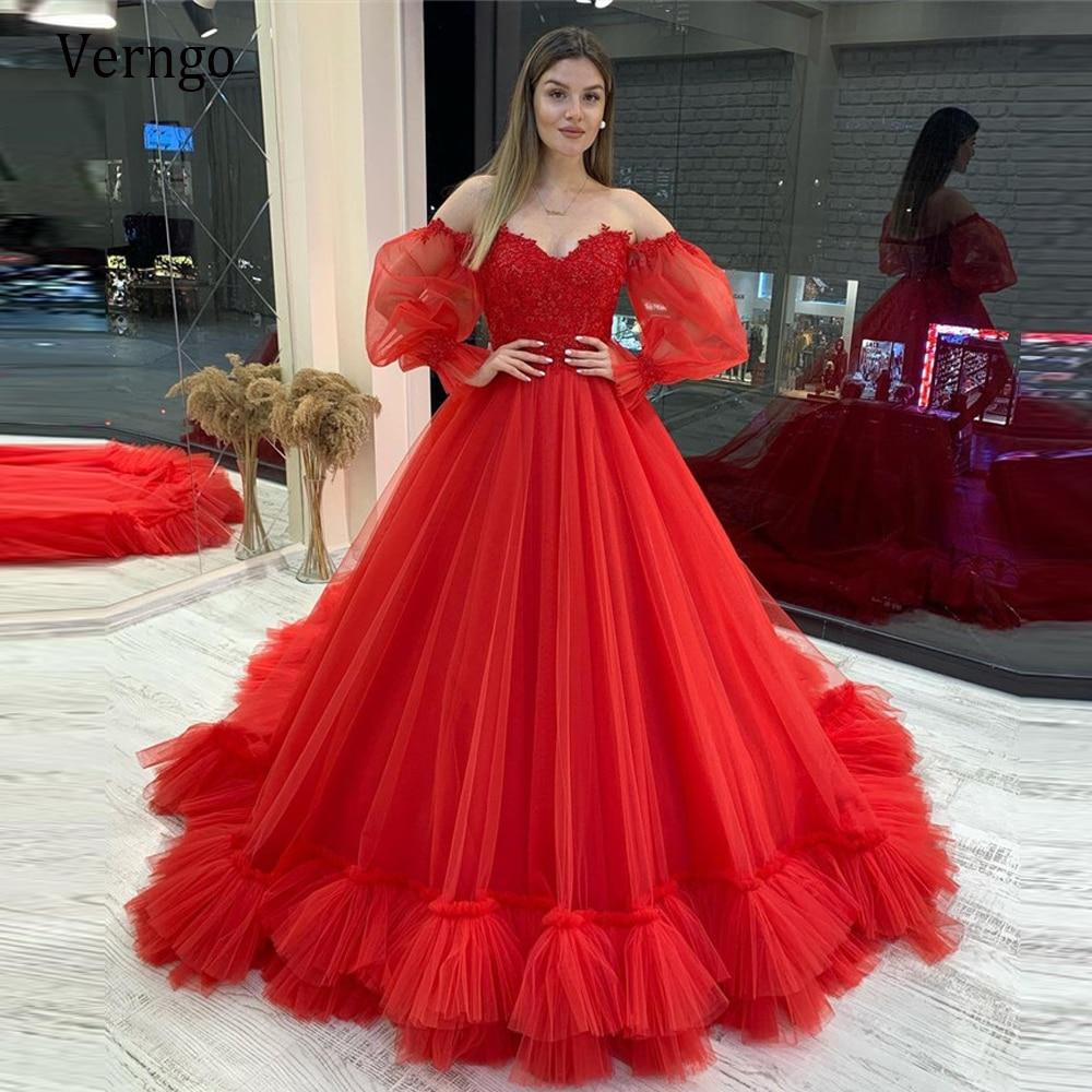 فستان زفاف من الدانتيل التول ، أحمر جميل ، A-Line ، أكمام طويلة منتفخة قابلة للفصل ، على شكل قلب ، عصري ، مخصص ، مجموعة 2021