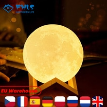 Gifts For Child 3 Colors Moon Light Touch Control Creative 3D Print Children Lights Rechargeable LED