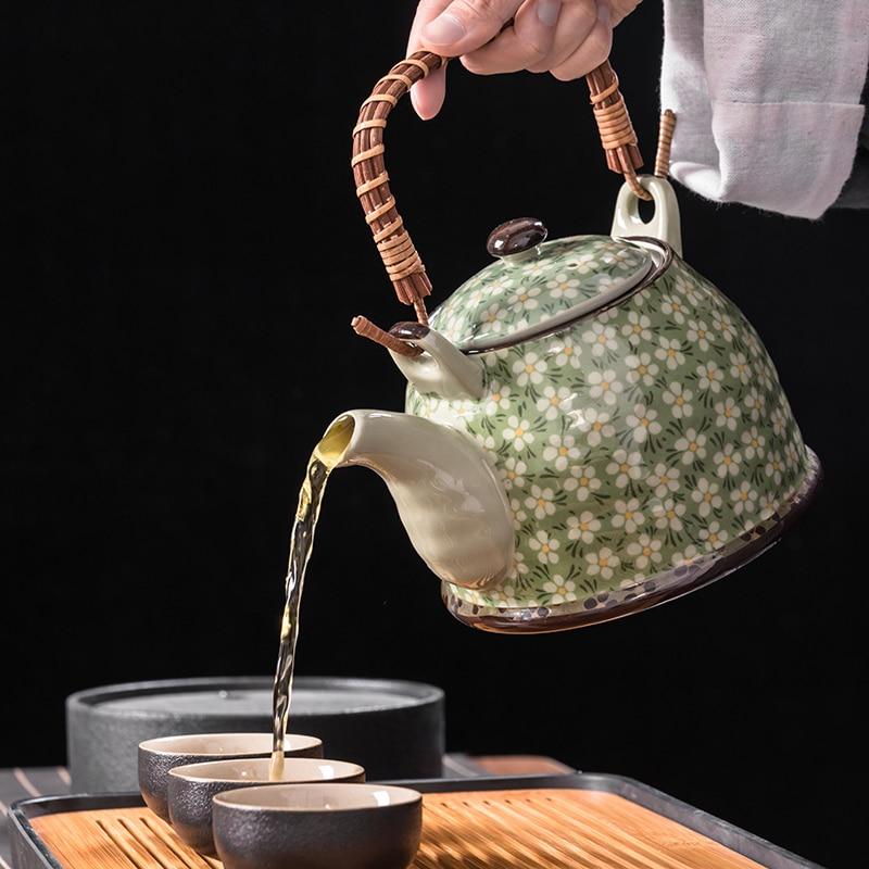 Porcelana chinesa bule grande capacidade restaurante pote de água fria casa retro único pote kung fu chá conjunto de teca