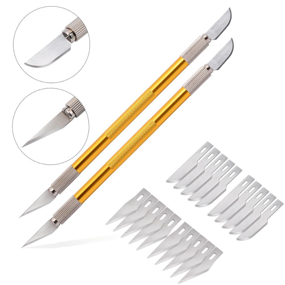 EHDIS 2 pièces Double-end en acier Art couteau stylo avec lame de rechange voiture fenêtre autocollant décalque outil de coupe carbone vinyle pellicule de Film Cutter