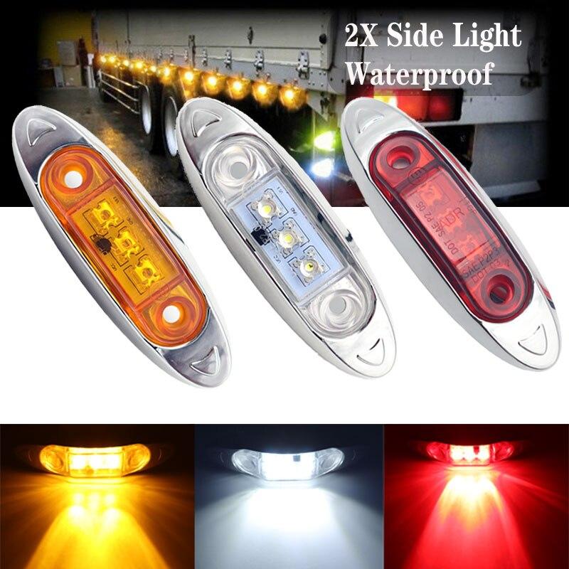 Luz de indicador lateral transparente para camión, remolque de coche, 2 uds., 3LED, 12V/24V, luz de señal roja/ámbar/blanca, resistente al agua