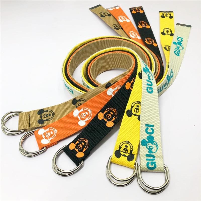 Cinturón de lona Unisex con letras impresas, anillo en D, doble hebilla Punk, correa de cintura para mujer, hombre, adolescente, chica, Chico, largo ancho, cinturón blanco
