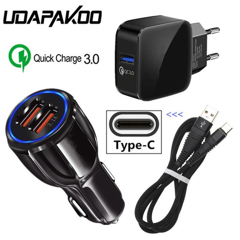 Tipo C Cable de carga QC 3,0 USB coche cargador para Samsung S9 S8 Xiaomi A3 mi 8 huawei P20 Pro P30 Lite honor 20 LG G6 Stylo 5