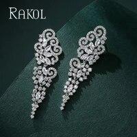 rakol modern cubic zirconia stud earrings for women 2021 trend fashion simple wedding jewelry factory pric re2473