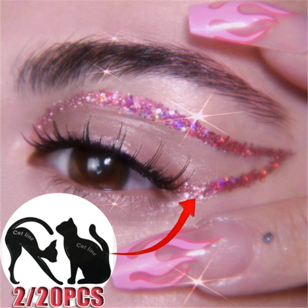 2/20Pcs Beauty Eyebrow Mold Stencils Set Women Cat Line Pro Eye Makeup Tool Eyeliner Stencils Template Shaper Model For Women