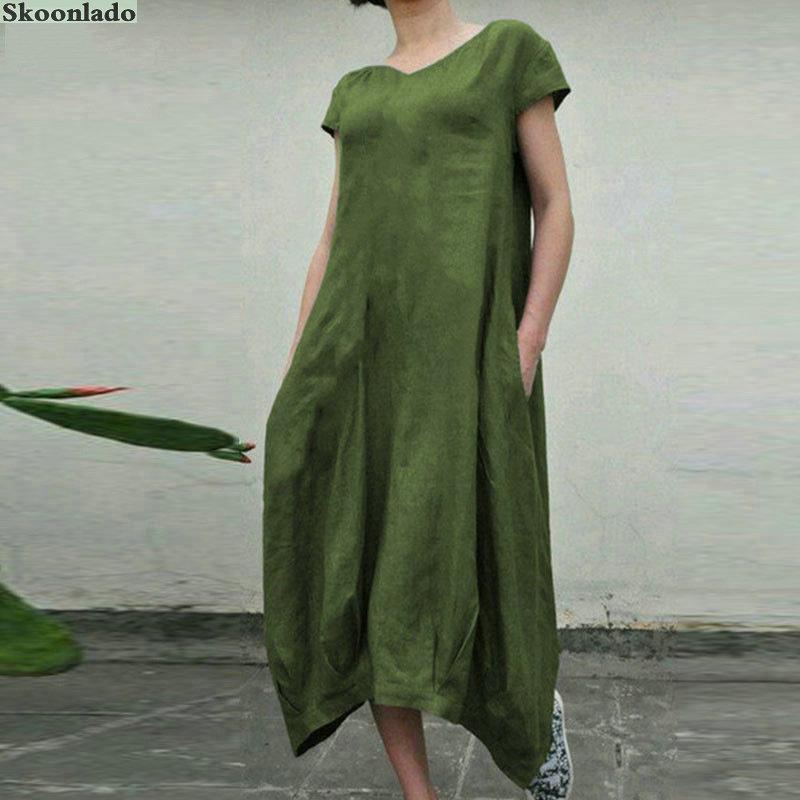 Размера плюс 5xl для женщин, вязаный жилет с v-образным вырезом для хлопок, Болье платье с короткими рукавами и карманами скошенными краями элегантный и темпераментная Повседневная Длинная юбка