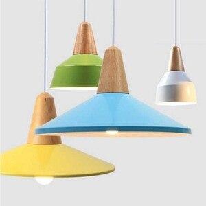 Modern Wood LED Chandeliers Colorful Metal Novelty Indoor Lightings Home Decor Light Fixture E27 Bulb Dining Room Bedroom