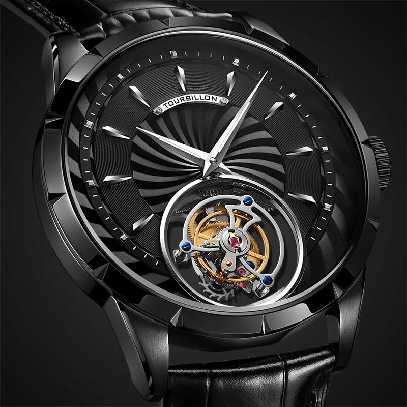 100% Tourbillon Watch men GUANQIN watch Skeleton mechanical Sapphire Mens Watches Top Brand Luxury clock men Relogio Masculino