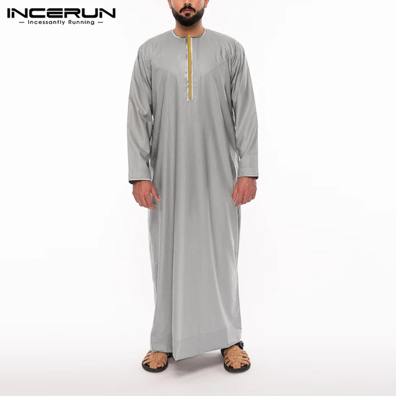 INCERUN Men Islamic Kaftan Arabic Long Sleeve Patchwork Caftan Robes 2021 Saudi Arabia Middle East Dubai Men Muslim Jubba Thobe