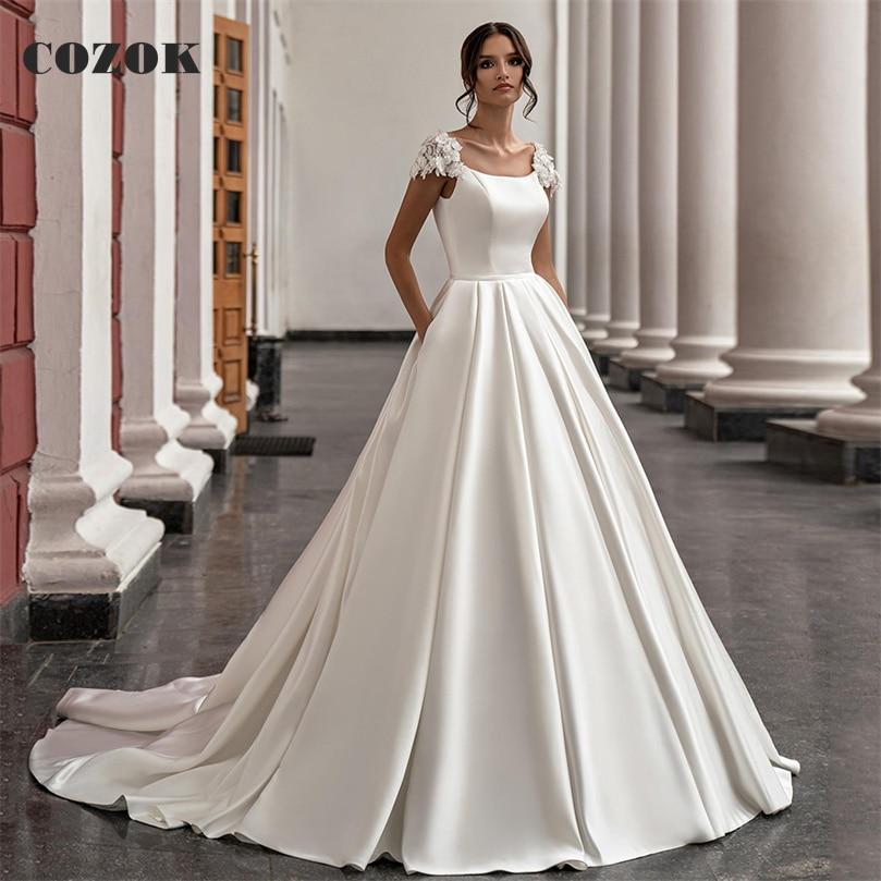Promo Ball Gown Satin Lace Floor Length Wedding Dress Formal Elegant Bride Wedding Gowns Custom Size CZ58
