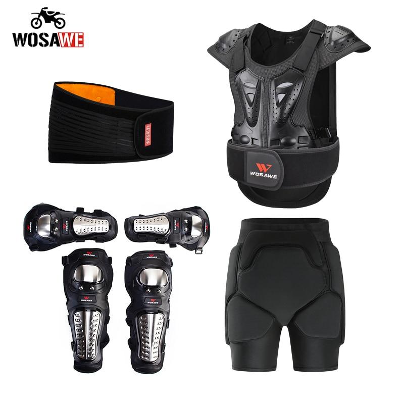 WOSAWE Full Body Protector Armor +Kneepads+Elbowpads+Shorts +Belt Waist Motorcycle Armor Jacket Protection Gear Vest Moto set