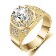 Bague pour hommes en or jaune 14K avec diamants simulés AAA, bague de fiançailles en diamants Bizuteria avec pierres précieuses