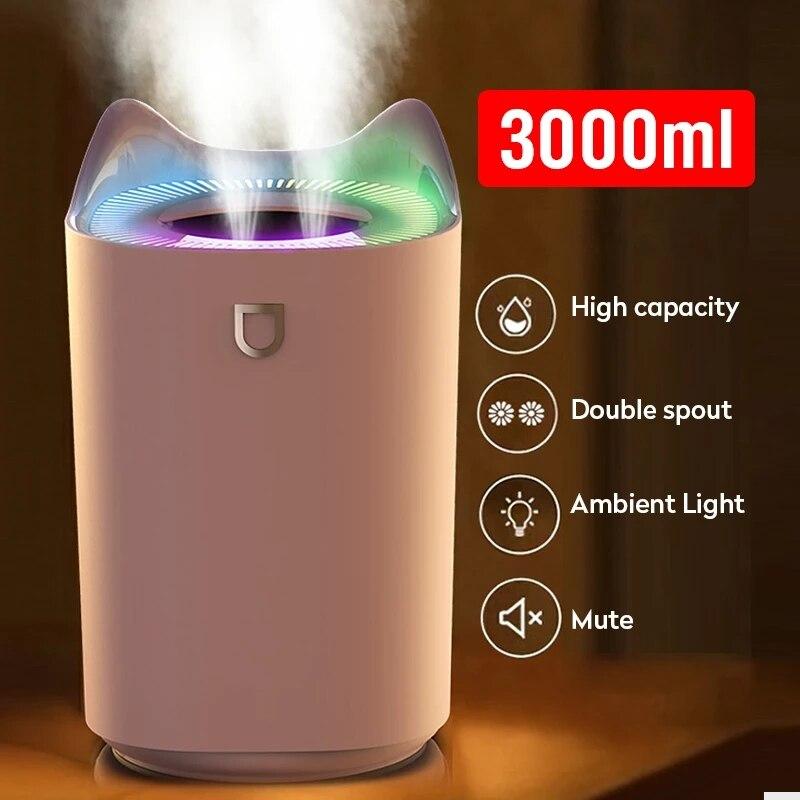 3L двойная насадка увлажнитель воздуха Эфирное масло Арома-диффузор с цветным светодиодный светильник ультразвуковые увлажнители воздуха ...