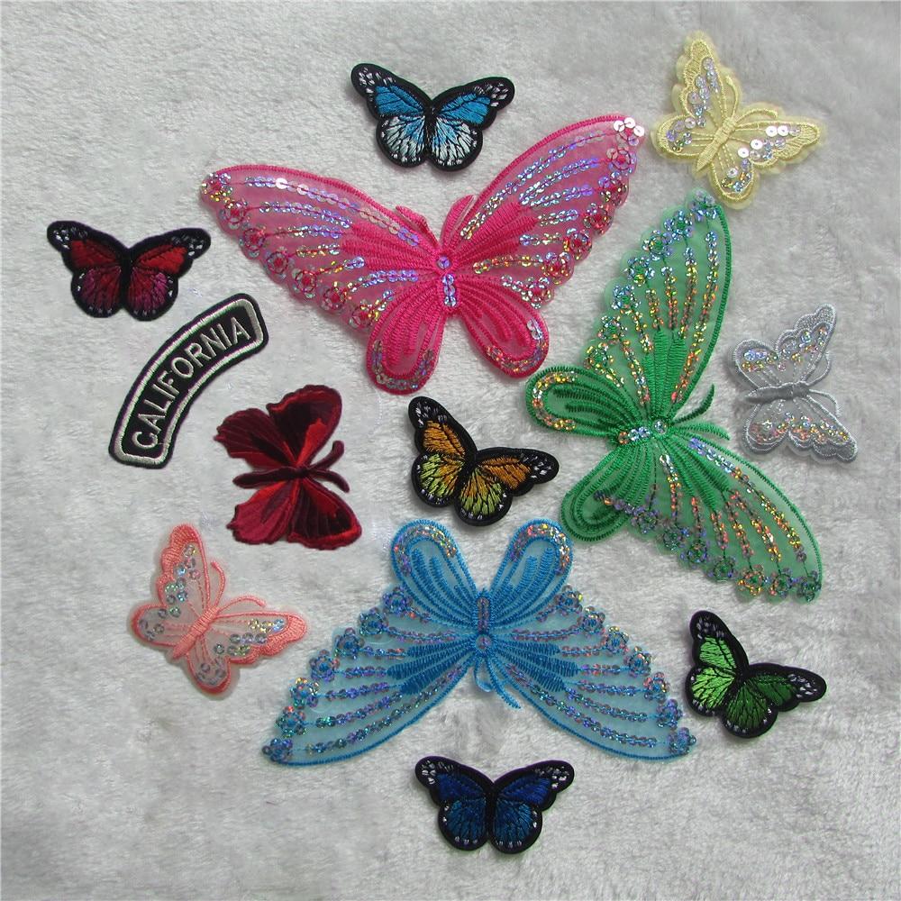 Alta qualidade 14 tipos de moda borboleta pattern remendos diy vestuário remendo afixado acessórios de costura decorativa chapéu roupas