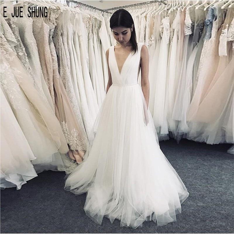 E JUE SHUNG-vestidos De Novia modernos De tul blanco, vestidos De boda...