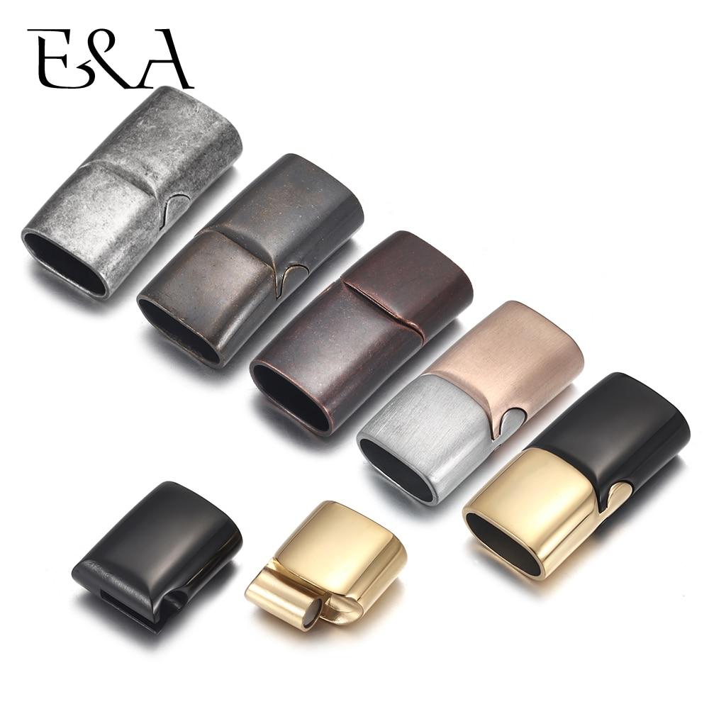 2sets de broches magnéticos de acero inoxidable con agujero de 10*5mm 12*6mm, broches de cordón de cuero dorado, suministros de pulseras para hacer joyería DIY