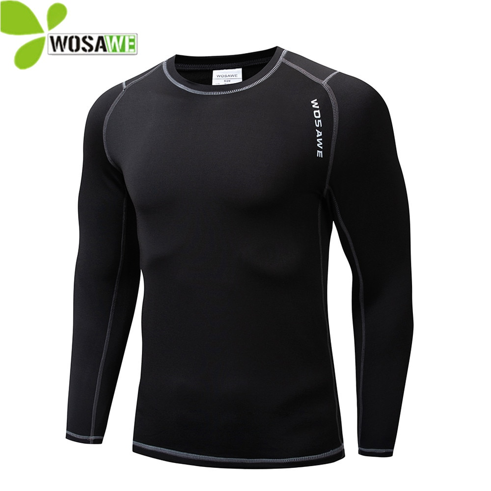 WOSAWE Winter Thermal Fleece Cycling Base Layer Bike Bicycle Clothing Sports Shirts Long Johns Sport
