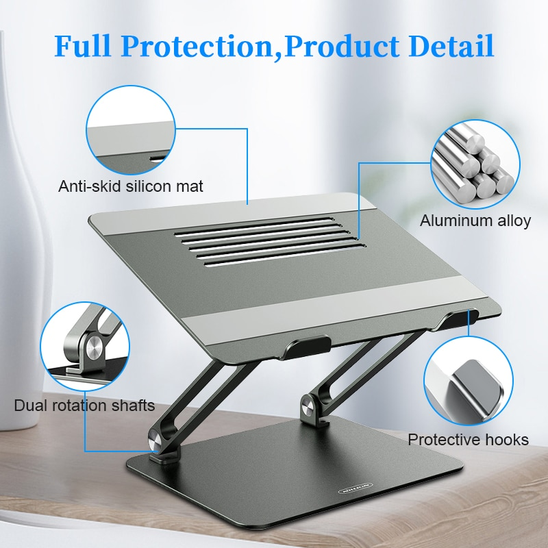 Laptop Stand for Bed Work From Home Aluminium Alloy Adjustable , NILLKIN Laptop Holder Multi-Angle Stand Heat Release Foldable