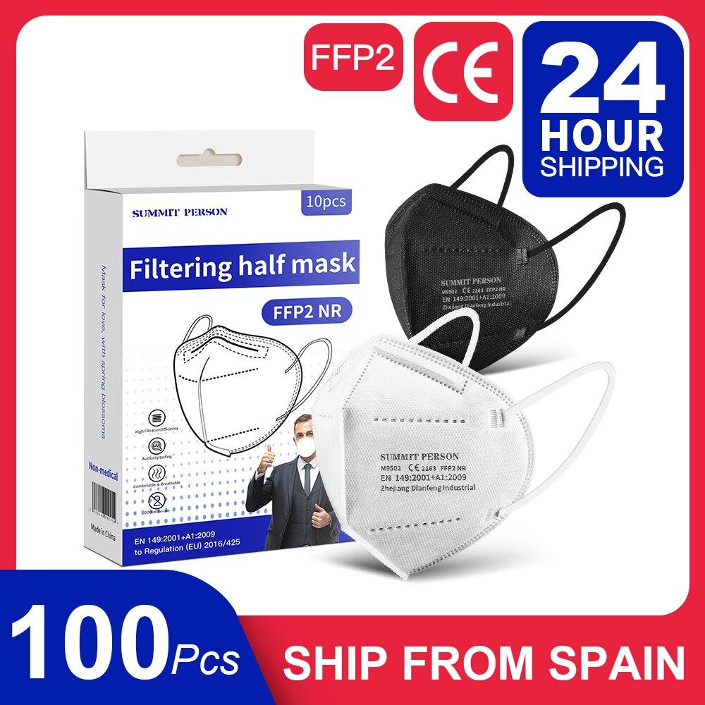 10-100 pçs pacote separado na caixa ffp2 máscaras mascarillas adulto kn95 filtro respirador máscaras de rosto ffp2masks preto branco cinza