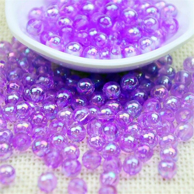 cuentas para bisutería Cuentas espaciadoras sueltas acrílicas redondas para fabricación de joyas,...