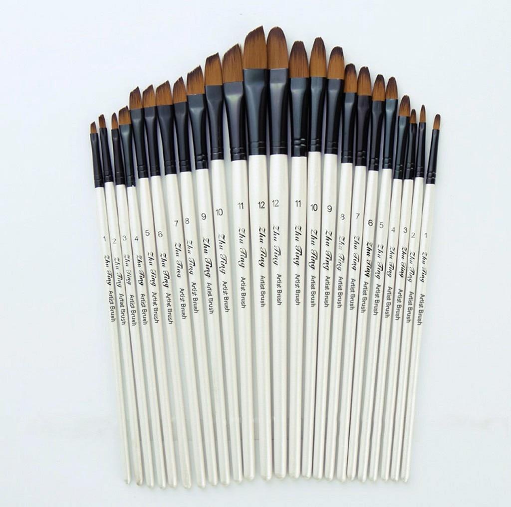 2021 New 12 Artist Watercolor Painting Brushes paint Brush For Nylon Paint Brushes Oil Acrylic Flat&tip Kit Pen Art Supplies