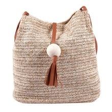 Bali Vintage Handmade Crossbody Leather Bag Round Straw Beach Bag Girls Circle Rattan bag Small Bohemian Shoulder bag(Brown)