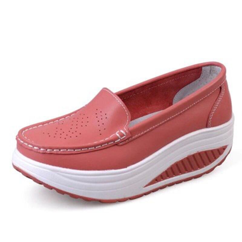 2019, zapatos adelgazantes de cuero de moda para mujer, zapatos informales para mujer, zapatos de Swing para mujer, fábrica de primavera y otoño, zapatos de alta calidad