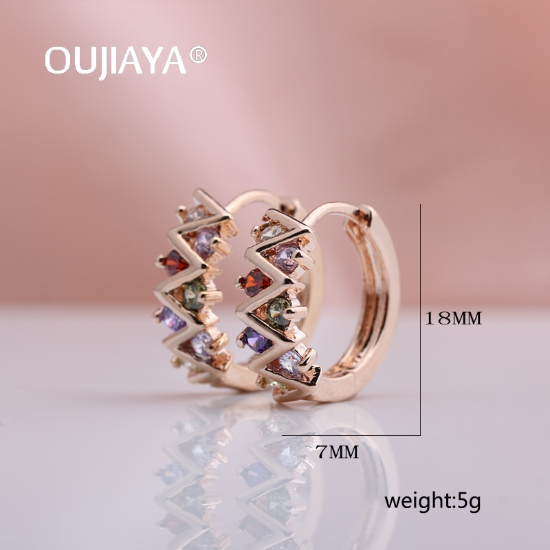 OUJIAYA New Water Drop Hollow Earring 585 Rose Gold Round Natural Zircon Earrings Women Wedding Fashion Fine Cute Jewelry A79