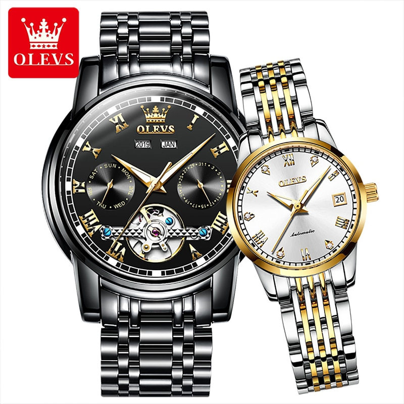 OLEVS New Fashion Casual Automatic Tourbillon Mechanical Waterproof Couple Watch Hollow Solid Stainless Steel Bracelet Watches
