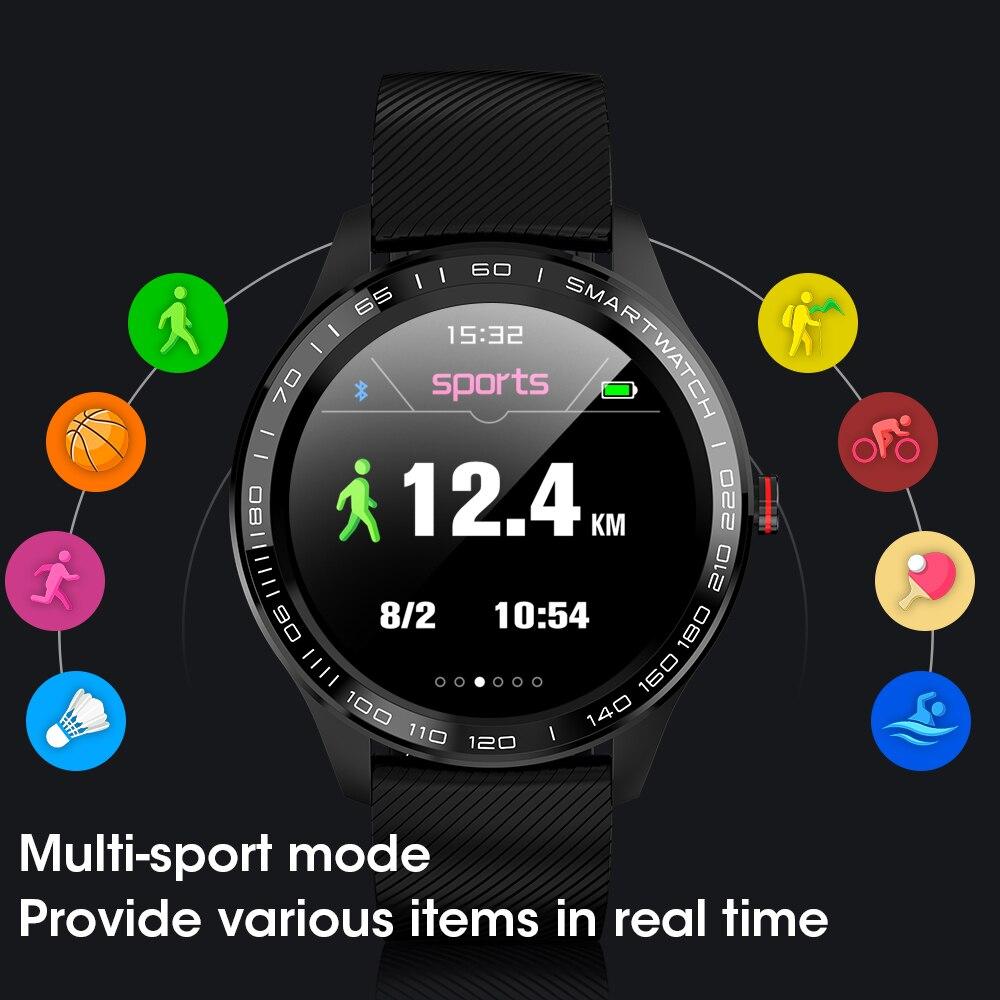 L9 toque completo relógio inteligente masculino ecg + ppg freqüência cardíaca monitor de oxigênio pressão arterial à prova dwaterproof água bluetooth pulseira inteligente