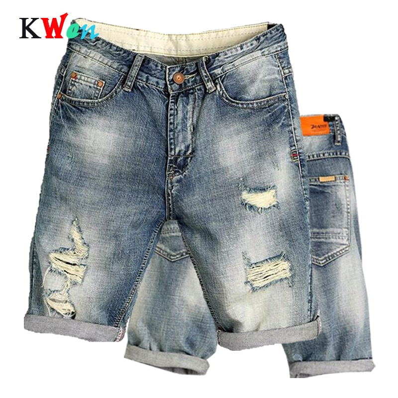 New Fashion Leisure Mens Ripped Short Jeans Brand Clothing Summer Shorts Breathable Tearing Denim jogger Male