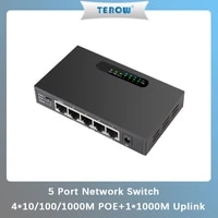 terow 52v 1 25a 5port gigabit unmanaged poe power supply switch with vlan 1000m copper rj45 ports ieee802 3afat ethernet switch