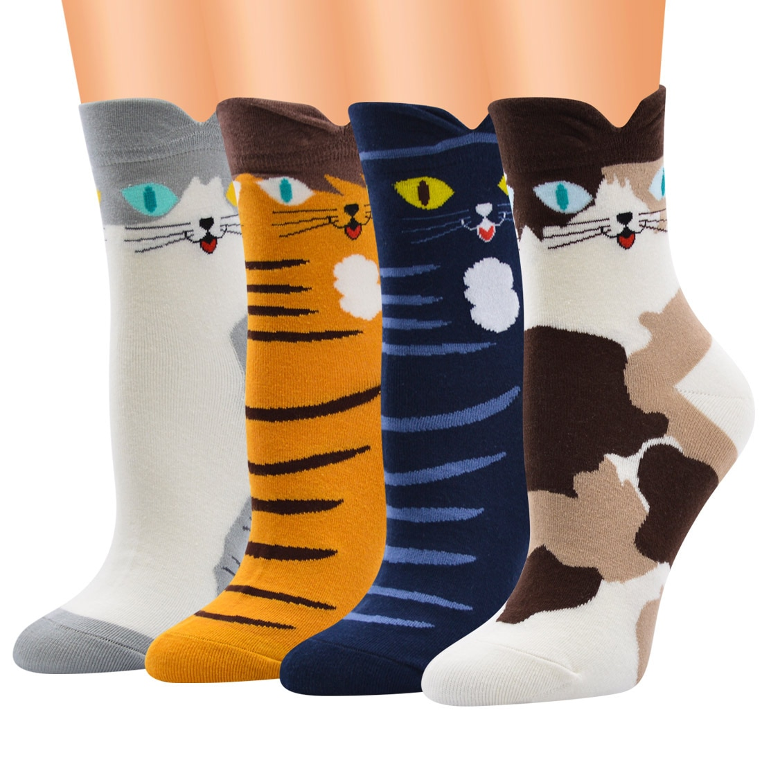 Women Latest Fashion Curved V Shape Cuff Cute Cat Print Cotton Socks For Teenage Girls