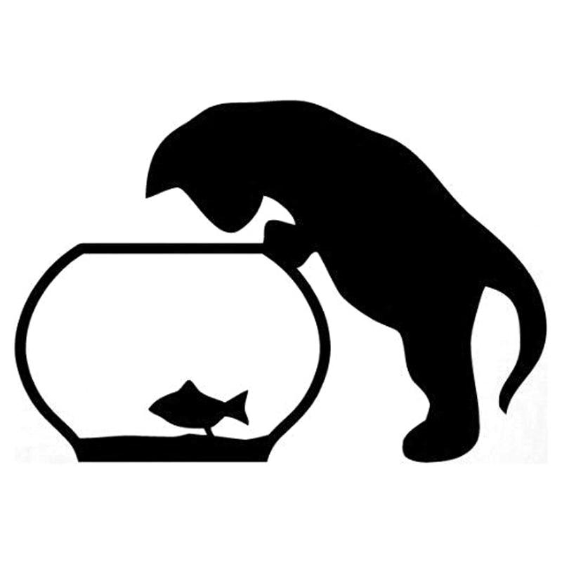 Автомобильная наклейка, кошка и рыба, модная виниловая Автомобильная наклейка, автомобильные аксессуары, наклейка 16,2 см * 11 см