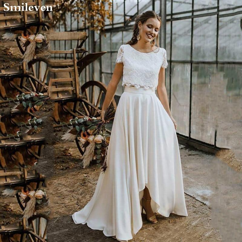 Smileven Boho Свадебное платье из 2 частей с кружевной аппликацией, с коротким рукавом